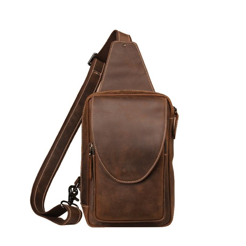 Chest bag retro leather bag men crazy horse leather crossbody bag casual leather shoulder bag bag woodland leather bag