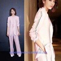 Модные с полосками из трех частей женская костюм элегантный комплект из двух предметов Топ и штаны vs розовые женские красивый conjunto feminino