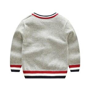 Image 2 - Vinnytido suéter de Navidad para niños, suéteres de un solo pecho con cuello en V, cárdigan de punto a rayas