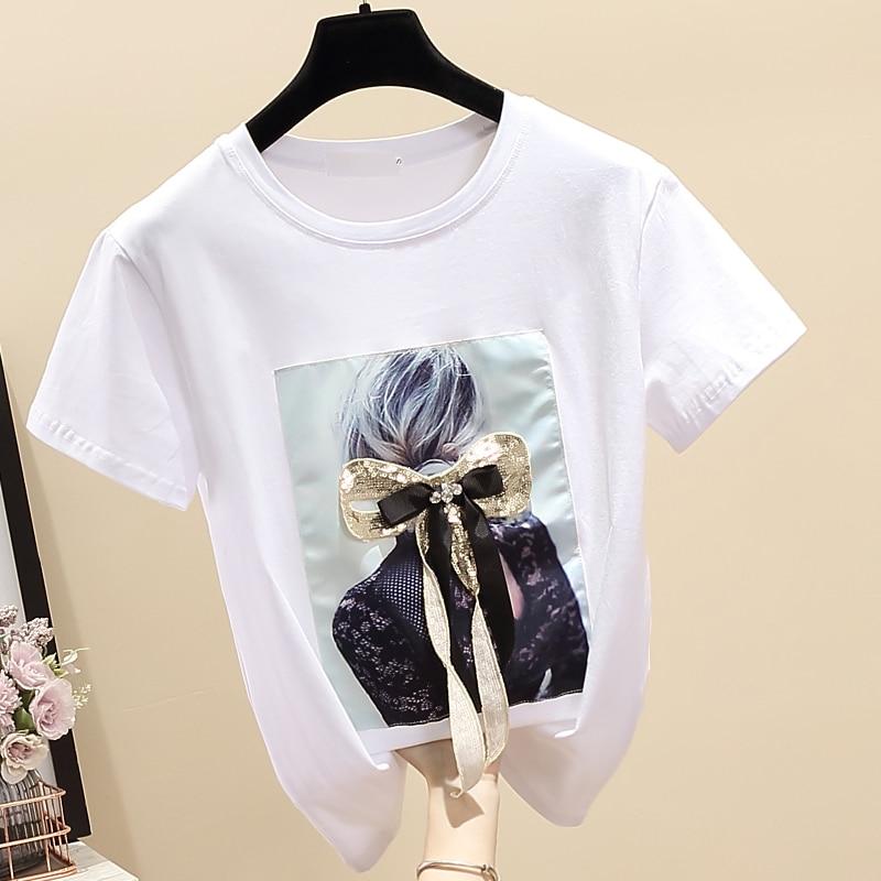 Été femmes T-shirt 2019 caractère de mode imprimé perles à manches courtes O cou T-Shirts Haut Femme T-shirt lâche décontracté hauts T-shirt