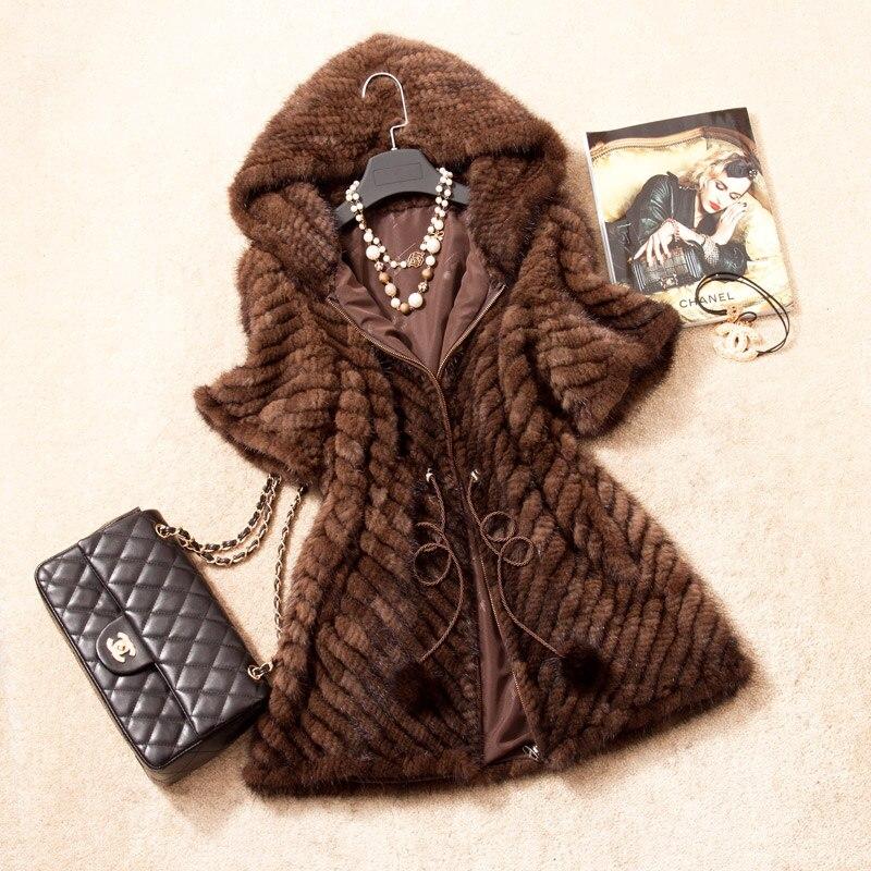 Демисезонный Для женщин из натуральной норки Мех животных куртка короткий рукав зима Для женщин Мех животных верхняя одежда Пальто для буд...
