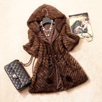 Spring Autumn Women's Genuine Real Knitted Mink Fur Coat Jacket Short Sleeve Winter Women Fur Outerwear Coats Overcoat 3XL 1372