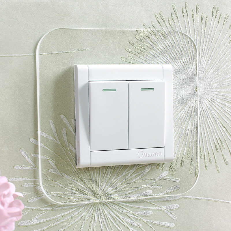 Aqumotic Acrylic Switch Panel Stickers General Household 4pcs Double Switchs Power Plug Sticker Home Outlet White