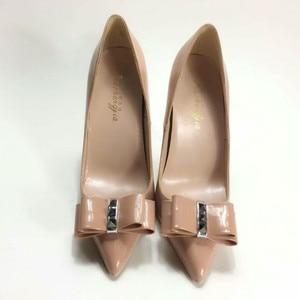 Image 3 - Женские туфли лодочки Keshangjia, брендовые туфли на высоком каблуке с острым носком и бантом