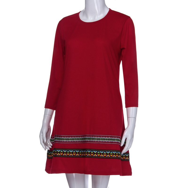 Women Autumn Dress Embroidery Round Neck Loose Pockets Long Sleeves Casual Dresses FS99