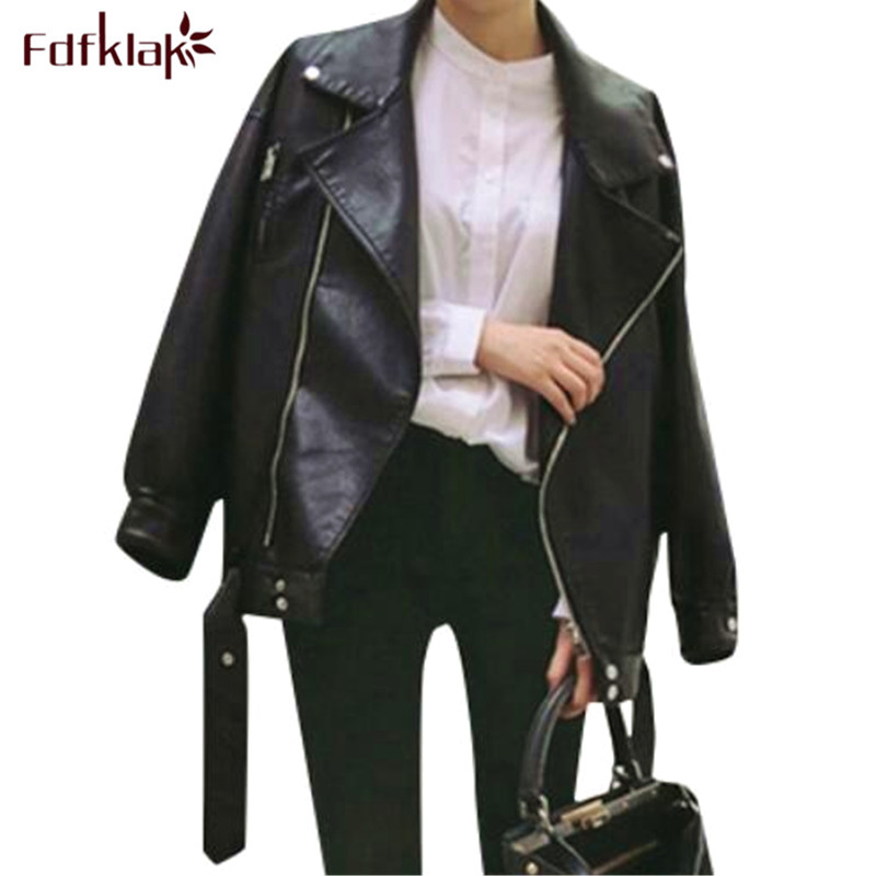 Fdfklak jaqueta feminina new 2018   leather   jacket women pu   leather   coat spring autumn fashion motorcycle loose women's jacket