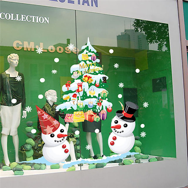 Removable cartoon christmas tree snowmanwall sticker static cling new year shop window decal christmas decorations