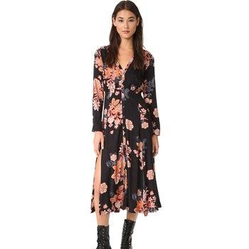 54917bce954c Vestido largo bohemio de verano con cuello en V y manga larga de estilo  bohemio para mujer 2019
