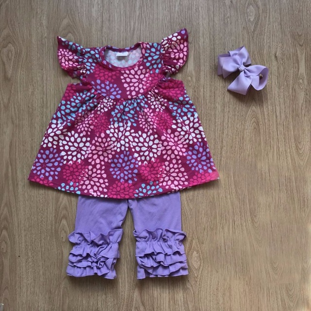 0c7bece3a8628 2018 unique boutique clothing wholesale firework floral pearl dress with  matching solid icing ruffle capris outfits with headbow