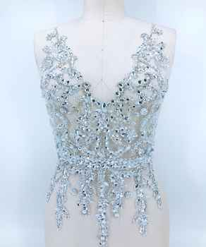 Handmade silver crystal patches trim sew on Sequins Rhinestones applique on white mesh 56*30cm for top dress skirt