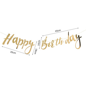 Image 4 - Pack Of 1pc Glitter Gold Happy Birthday Banner For Boys Girls Happy Birthday Decoration Kids First Birthday Decorations
