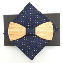 Wood Bow Tie Mens Wooden Ties Party Business Butterfly Cravat For Men with pocket squares
