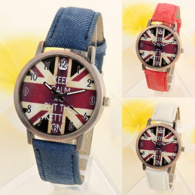 Lower Price with Irisshine I0589unisex Watches Love Gift Couple Brand Luxury Unisex Casual Quartz Analog Sports Denim Fabric Uk Flag Wrist Watch Watches