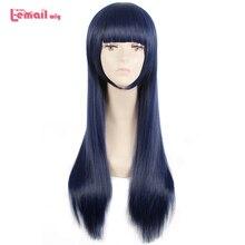 "L דוא""ל פאת סורה אין שיטת Shione Togawa קוספליי פאות ארוך כחול שחור מעורב צבע פאת קוספליי עמיד בחום סינטטי שיער"