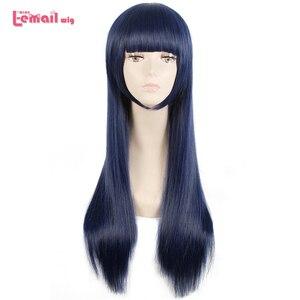 Image 1 - L e mail perücke Sora keine Methode Shione Togawa Cosplay Perücken Lange Blau Schwarz Gemischte Farbe Cosplay Perücke Hitze Beständig synthetische Haar