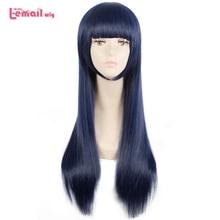 L email peruk Sora hiçbir yöntemi Shione Togawa Cosplay peruk uzun mavi siyah karışık renkli Cosplay peruk isıya dayanıklı sentetik saç