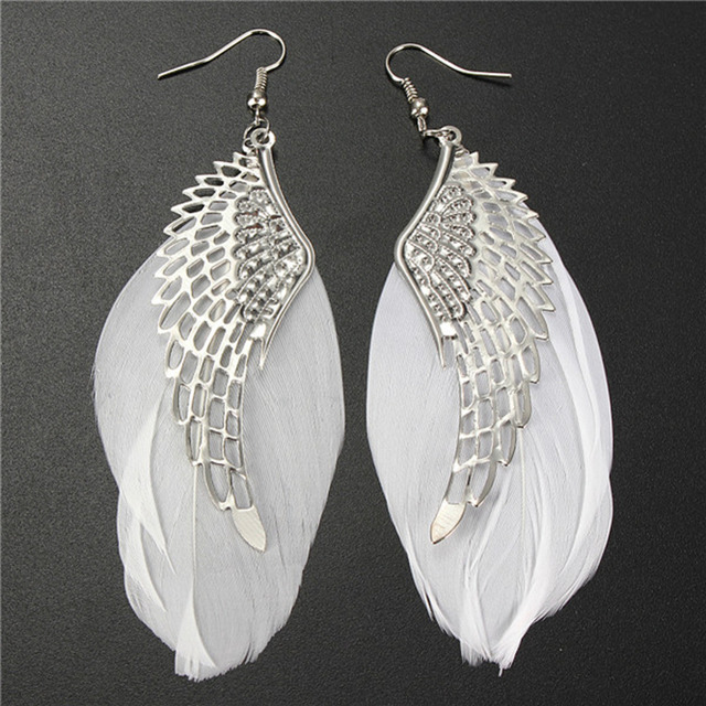 White Feather Angel Wing Earrings