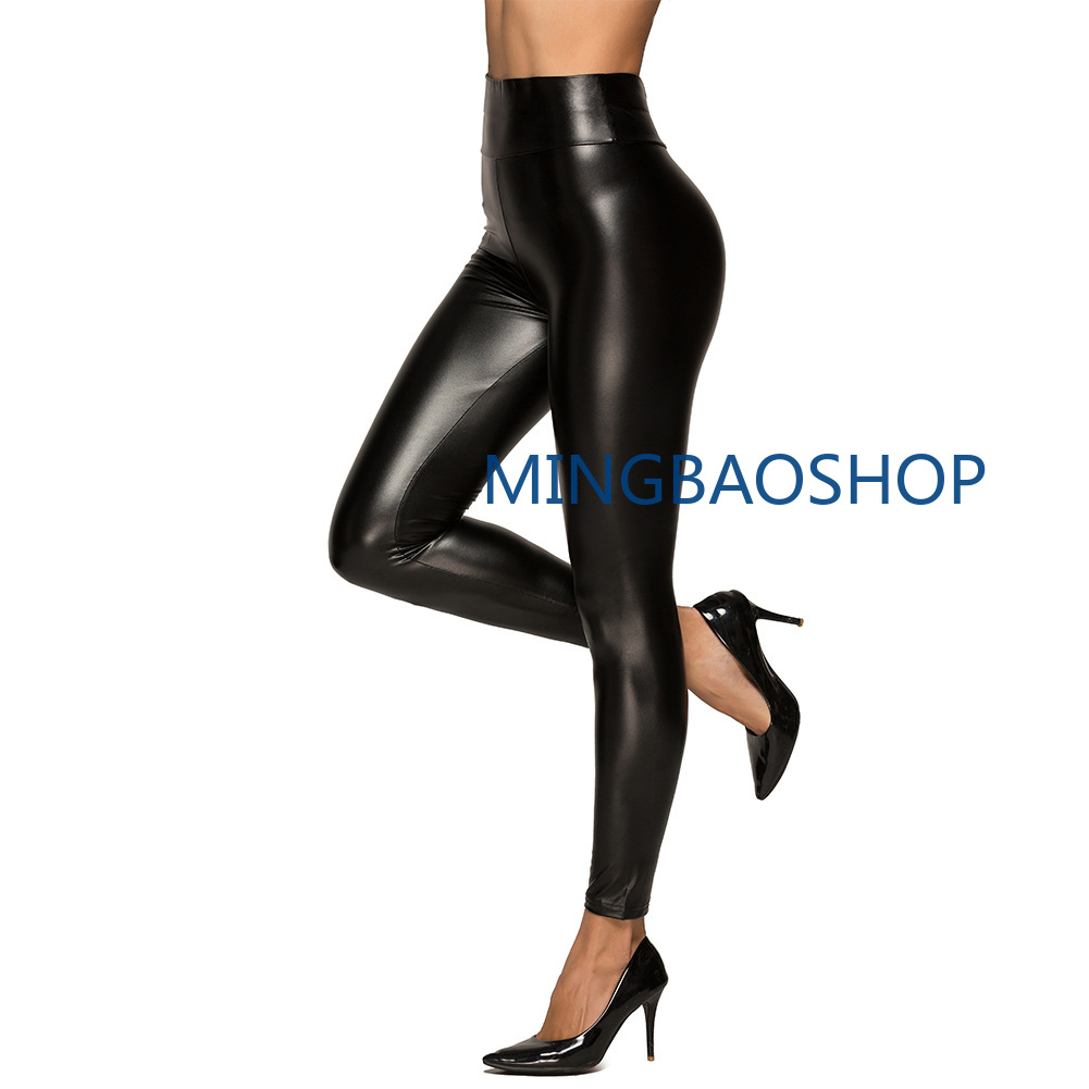 High waist pu leather pants bright leather panties high bullet thin lady pants nine points plus size womens clothing plus size