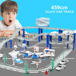 Racing-Track-Toy Car Assemble Educational-Toys Alloy-Rail Electric Children's 72pcs Multiple-Styles