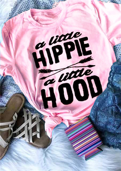 Summer Cotton Short Sleeve Casual Tee A little Hippie a little Hood Arrow T-Shirt Stylish Popular Tops Trendy Slogan Outfits