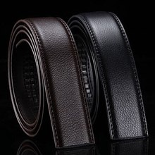 Brand No Buckle 3 5cm Wide Genuine Leather Automatic Belt Body Strap Without Buckle Belts Men Good Quality Male Belts cheap LANSHITINA Adult Split Leather Plastic Formal Solid P412(10)