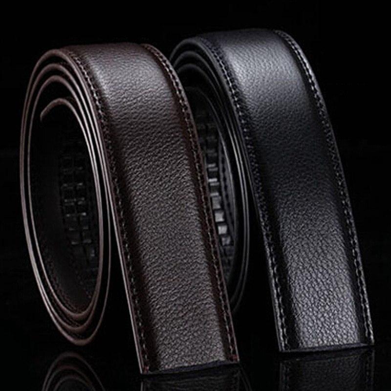 La marca No Buckle 3,5 cm Ancho de cuero la correa de cuerpo sin cinturones de hebilla de los hombres de buena calidad hombre cinturones