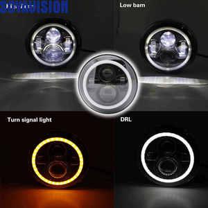 Image 4 - 1ไฟรถคู่Led H4 7นิ้วรถอุปกรณ์เสริมAngel Eyes H4 Ledไฟหน้าสำหรับJeep JK TJ Land Rover defender Lada Niva 4X4นักล่าUaz