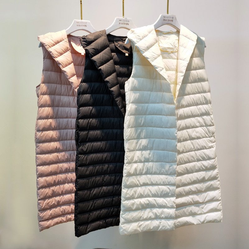 2018 New Women Sleeveless Jacket Slim Hooded Ultra Light White Duck   Down   Vest Parka Female Midi Long   Down   Waistcoat   Coat   AB1123