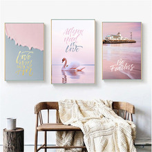 HAOCHU Nordic Modern Canvas Print Painting Seascape Landscape Seabirds Writing Personality Home Decoration Wall Hanging