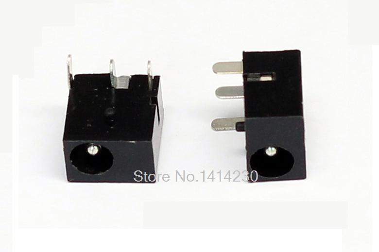 10Pcs DC-006 3Pin Black DC Power Jack Socket Connector DC006 3.5*1.3mm 1.3 Socket Round The Needle