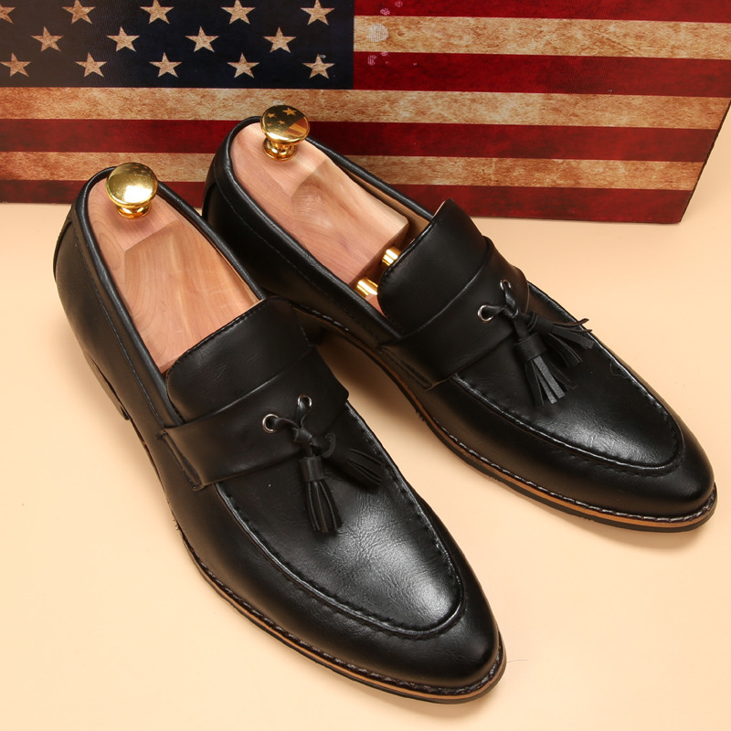 luxury brand mens pointed toe dress shoes famous loafer male gents formal wear ballet flats zapatos hombre oxford shoes for men  (14)