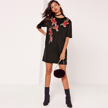 Women Rose Embroidery  T-shirt Party Dress