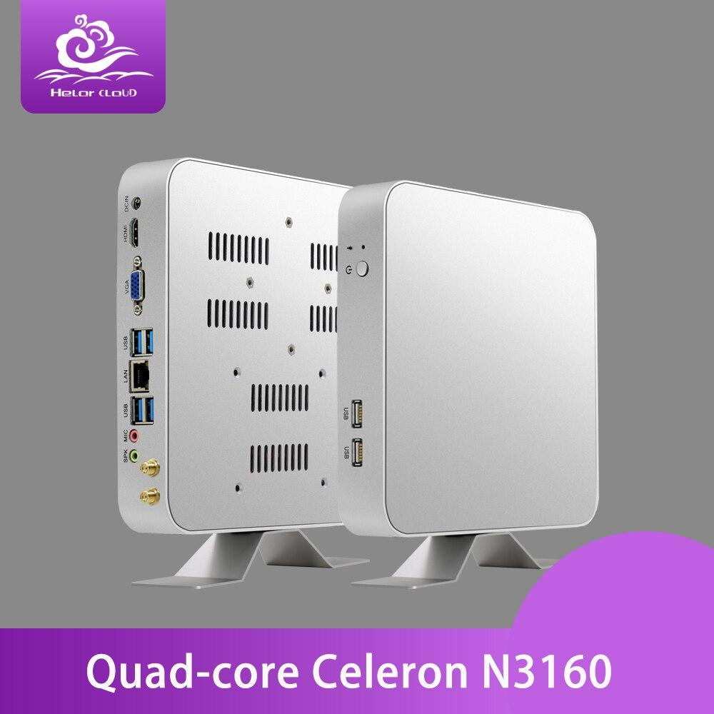 Intel CPU Mini PC Sans Ventilateur Mini-Ordinateur Windows 10 Celeron N3160 Quad Cores HTPC Barebone Ordinateur De Bureau 4 gb RAM TV BOX
