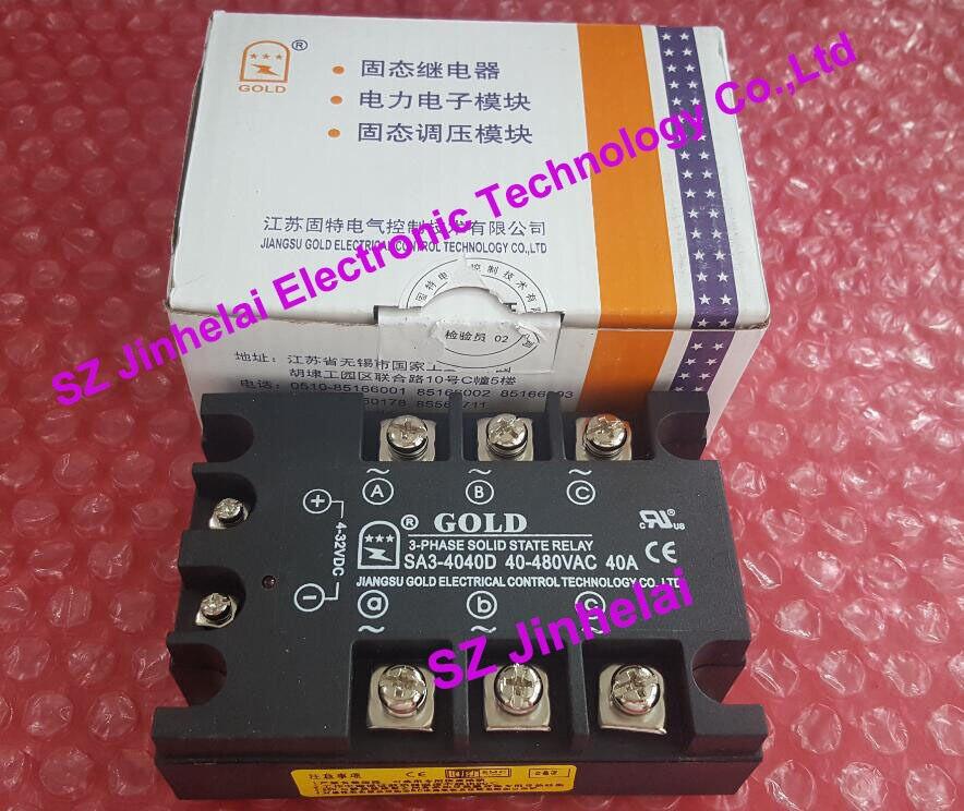 New and original  SA34040D   SA3-4040D   GOLD   3-PHASE Solid state relay   SSR  4-32VDC, 480VAC 40A new and original sa340100d sa3 40100d gold three phase solid state relay 480vac 100a