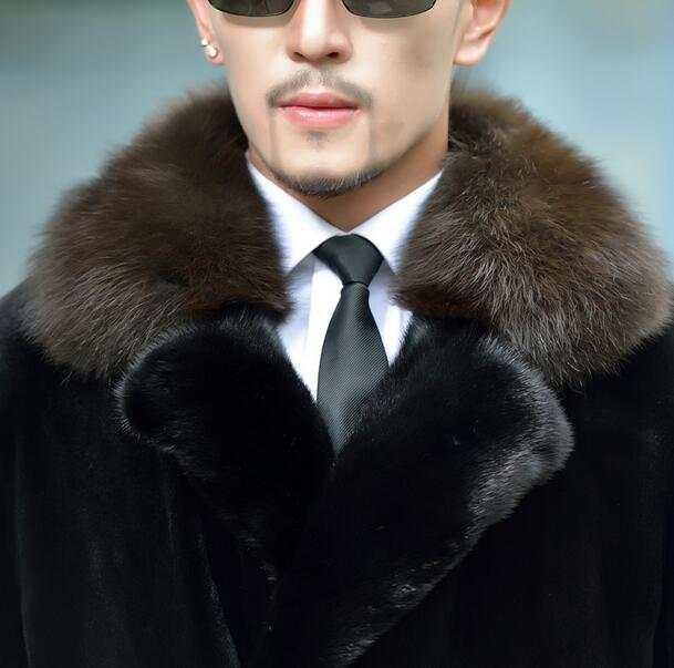 US $113.16 18% OFF|Schwarz warm faux falschen nerz kaninchenfell mantel herren lederjacke zweireiher mäntel villus winter lose thermische