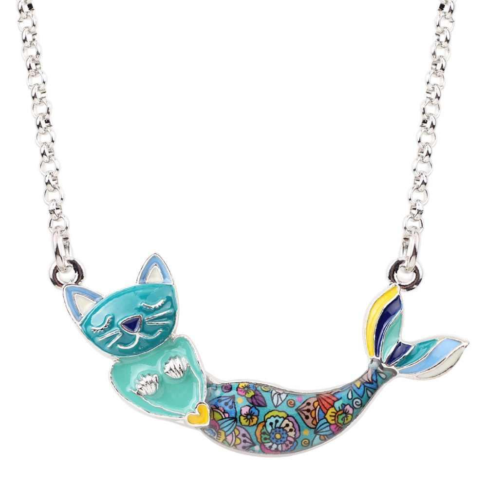 Bonsny Enamel Alloy Mermaid Cat สร้อยคอสร้อยคอสร้อยคอสร้อยคอสร้อยคอ Choker สัตว์น่ารักเครื่องประดับสำหรับวัยรุ่นหญิงวันเกิดของขวัญ Drop Ship