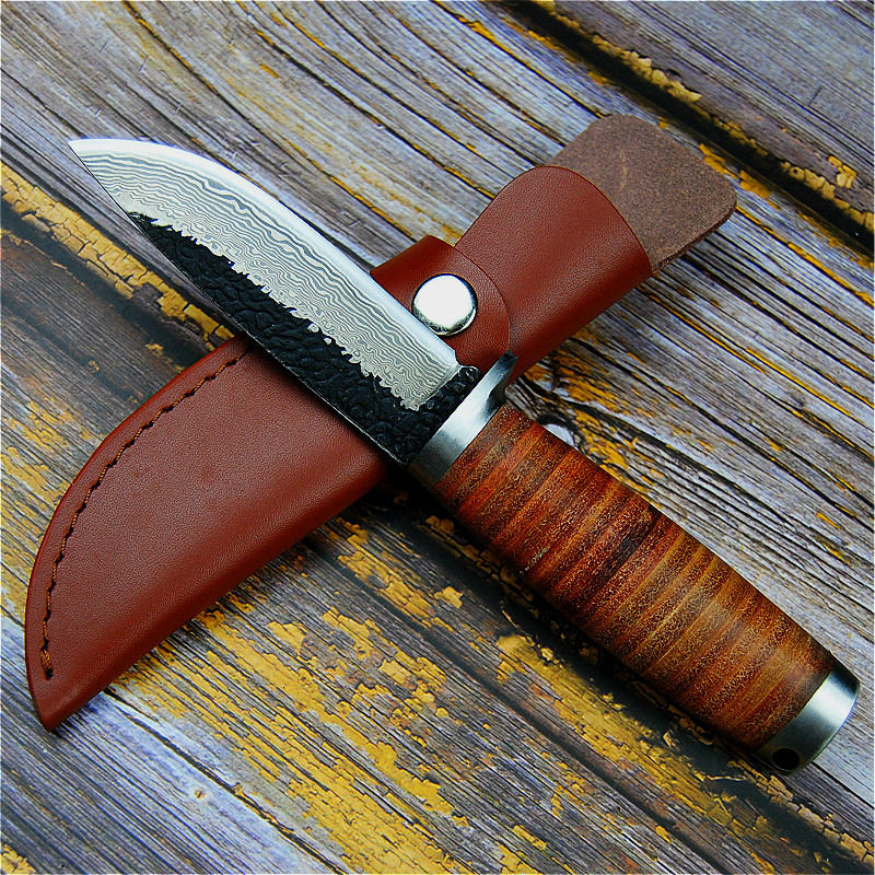 60HRC Knife Outdoor Second Hunting Forging Knife Cutting American Hunting Knife Manual Sharp Straight North PEGASI Tactical