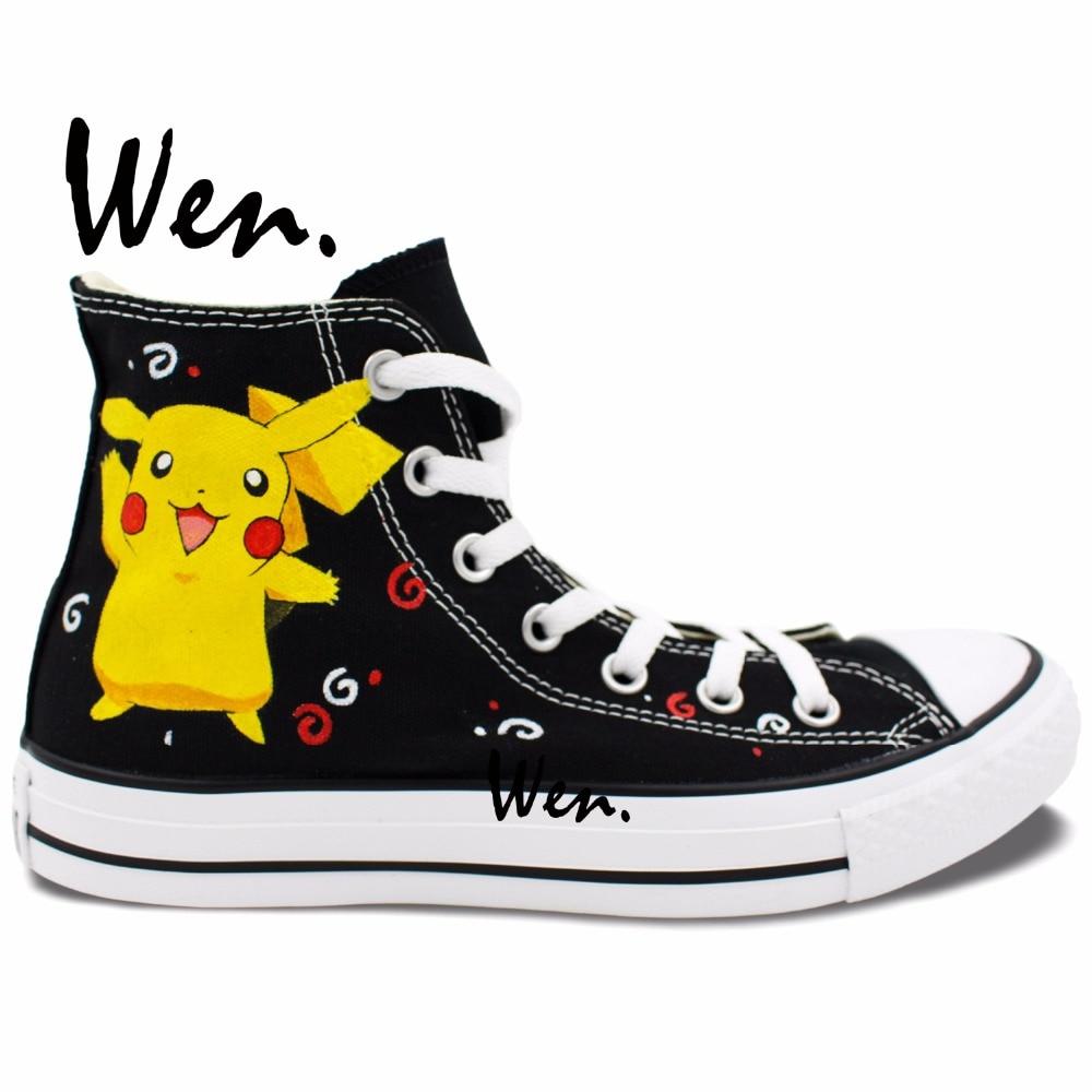 Wen Hand Painted Shoes Anime Casual Shoes Custom Design Pikachu Pokemon Pocket Monster Men Women High Top Canvas Shoes Sneakers ipc floor pca 6114p10 rev b1 100% test