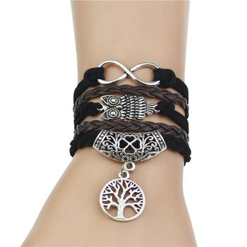OBSEDE Vintage Retro Tree of life Owl Infinity Leather Bracelet for Women Jewelry Braided Handwoven Wrap Leather Rope Chain 1
