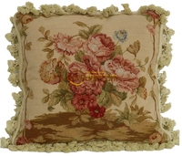 needlepoint wool handmade cusions flower style Museum Royal Palace handmade velvet embroidered pillow cover y8401/4gc179yg4
