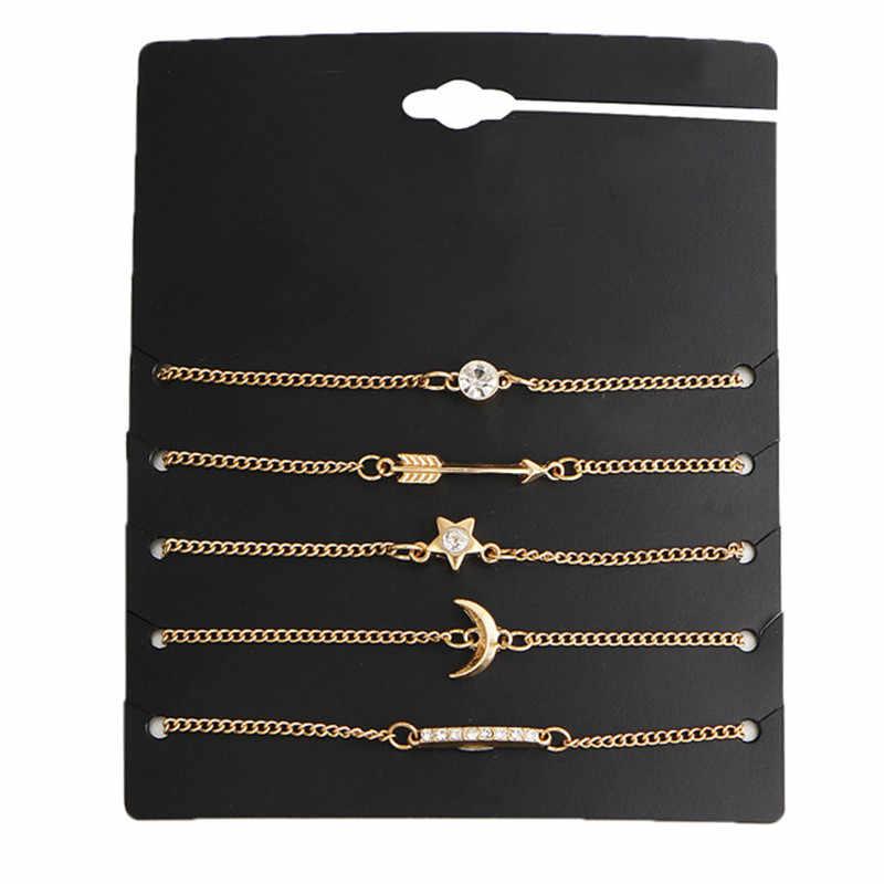Модный браслет с подвеской в виде Луны для женщин, 5 шт./компл., богемский стиль, браслет для ног, сандалии босиком, украшения для ног, пляжные аксессуары, подарок