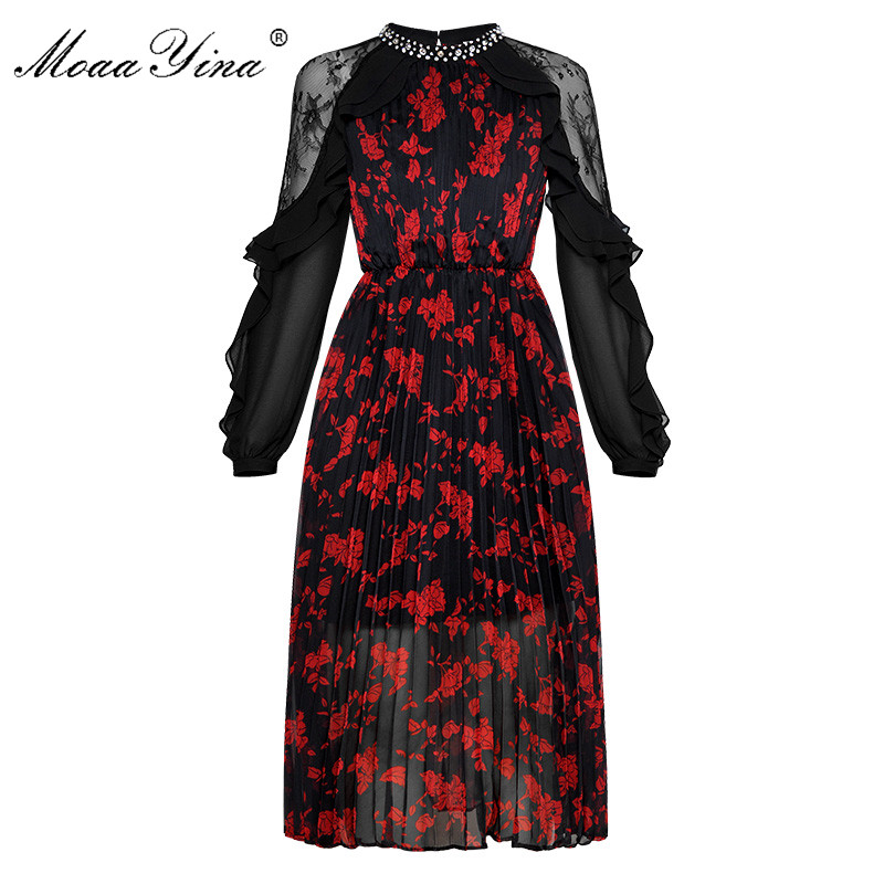 MoaaYina Crystal Mesh Ruffles See Through Long sleeve Pleated Floral Print Dresses Fashion Designer Runway Spring