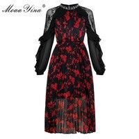 MoaaYina Crystal Mesh Ruffles See Through Long sleeve Pleated Floral Print Dresses Fashion Designer Runway Spring Women Dress