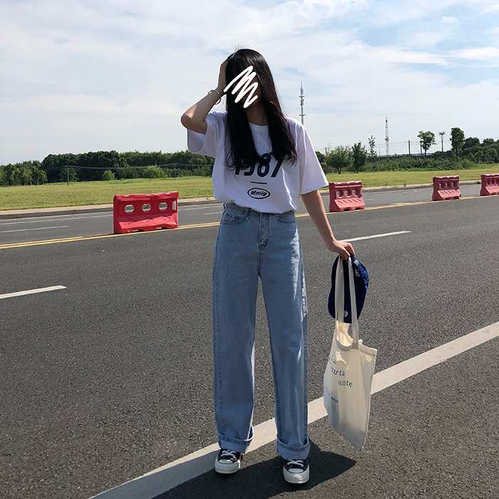 S-L Spring Korean Style High Waist Jeans Lady Casual Straight Denim Light Blue Jeans Womens Mom Jeans Womans (X966)