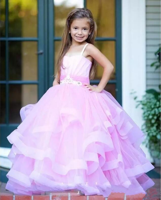 New Pink Ball Gown Girls Pageant Dresses Christmas 2018 Spaghetti Strap Tiered Layers Flower Girl Gowns Size 2-14Y 4pcs new for ball uff bes m18mg noc80b s04g