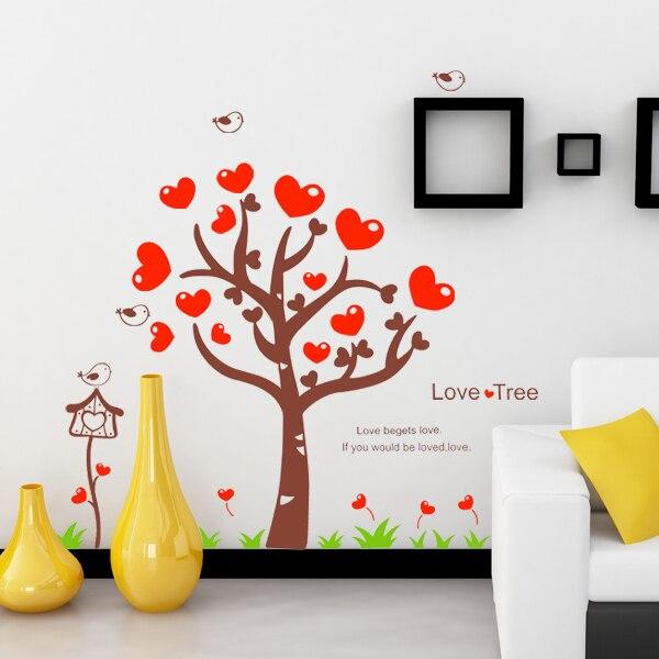 Heart Wall Decor online shop love heart tree wall sticker flower wall covering