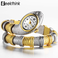GEEKTHINK Única Marca de Moda Relógio de Quartzo Pulseira de Cobra Relógio de Vestido Das Senhoras Das Mulheres Pulseira Enfeites de Diamante de Luxo de Prata de Ouro