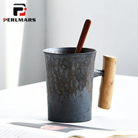 300ml Vintage Rust Glaze Ceramic Coarse Pottery Mug with Wooden Handgrip Tea Milk Coffee Cup with Wooden Spoon Water Drinkware
