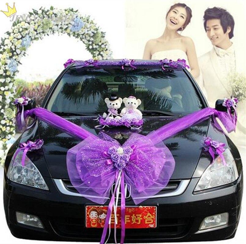 2017 PE Rose maille et dentelle ruban de soie aime ours et fil décoration voiture mariage décoration fournitures de mariage