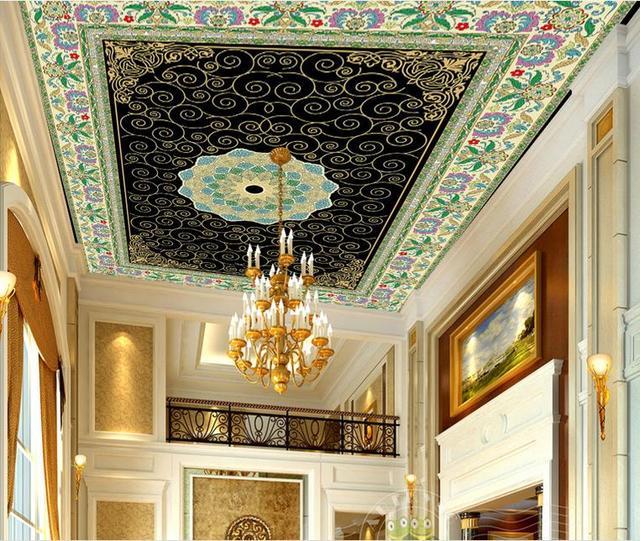 Custom 3d plafond fotobehang Kleurrijke etnische bloemen 3d plafond ...